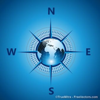 Blue earth compass vector