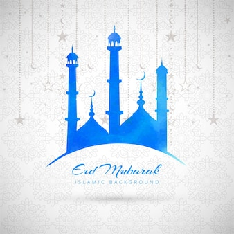 Blue eid mubarak background with mosque