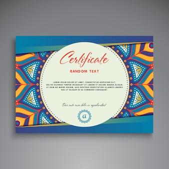 Blue ethnic diploma design