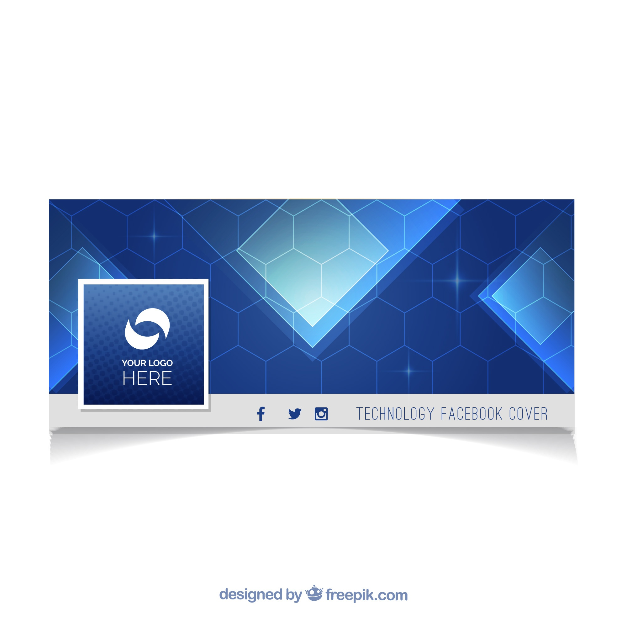 Blue facebook cover with abstract shapes