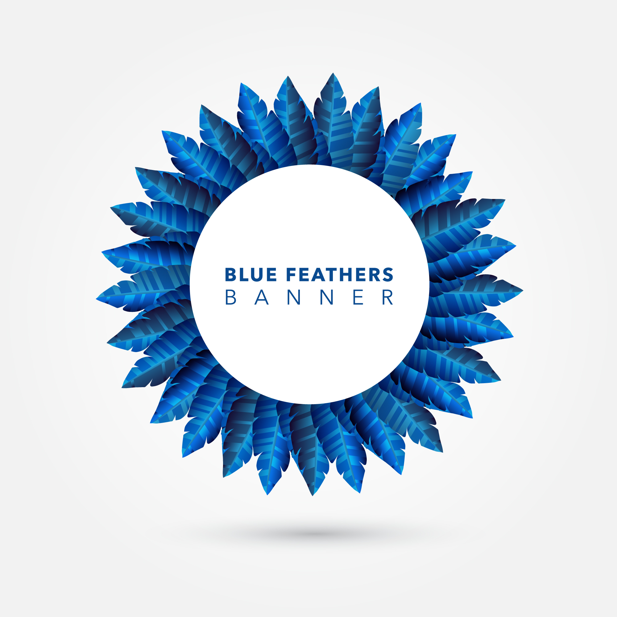 Blue feather ring background