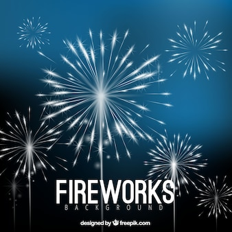 Blue fireworks background