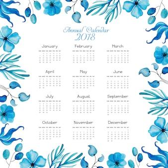 Blue Floral Calendar 2018