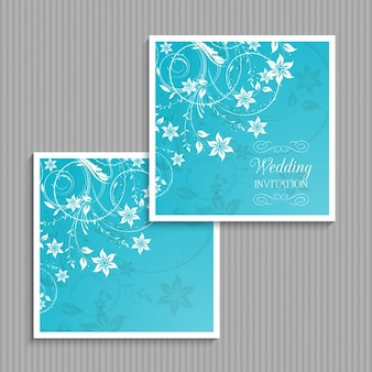 Blue floral wedding invitation