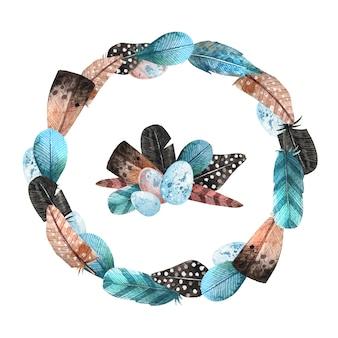 青い花の花輪の背景