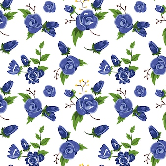 Blue flowers pattern background