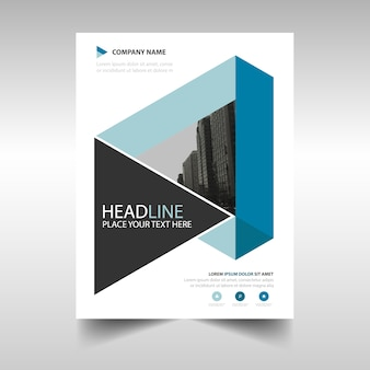 Blue geometric annual report book cover template