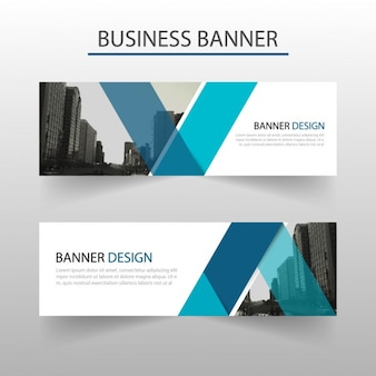 Blue geometric banner with abstract shapes
