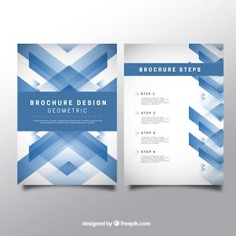 Blue geometric brochure
