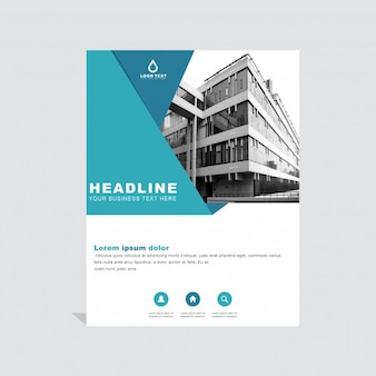 Blue geometric business brochure template