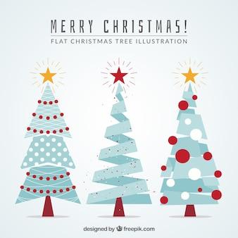 Blue geometric christmas trees