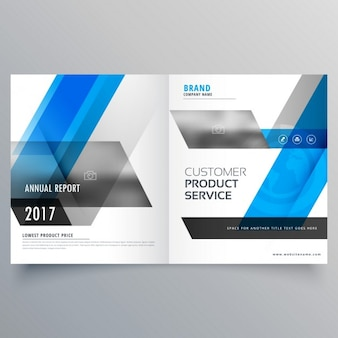 Blue geometric leaflet template with two leaves