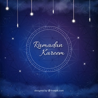 Blue geometric ramadan background with bright ornaments