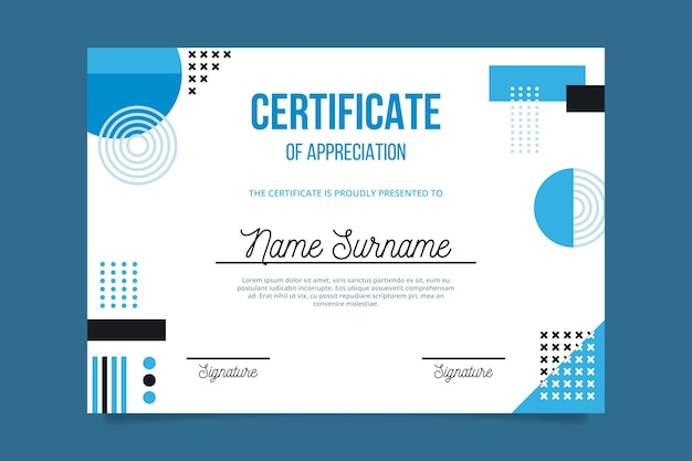 Blue geometric shapes and memphis certificate template