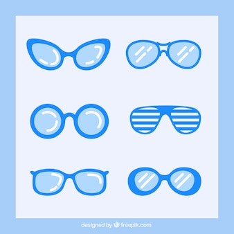 Blue glasses collection