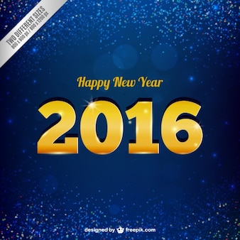 Blue glitter background with golden numbers