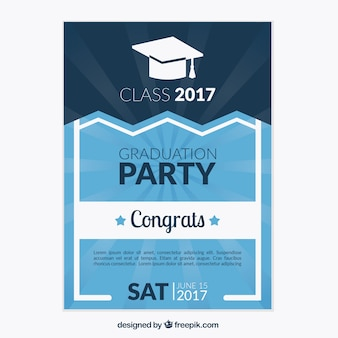 Blue graduation party brochure with white details