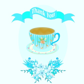 Blue greeting card with cup