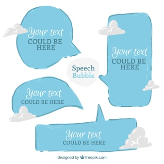 Blue hand drawn speech bubbles with clouds