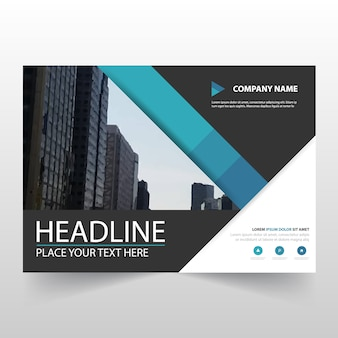 Blue horizontal business flyer template