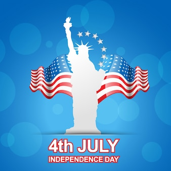 Blue independence day design with statue of liberty