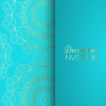 Blue invitation with golden patterns