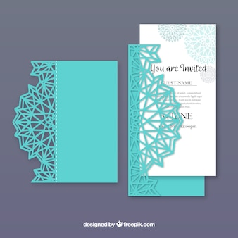Blue laser cut invitation