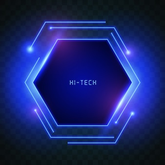 Blue lights hexagon background