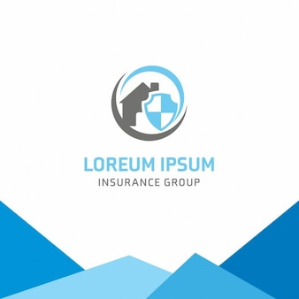 Blue logo, insurance, house