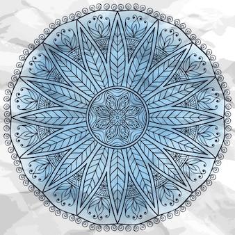 エスニックスタイルのラウンドベクトルオーナメント手描き