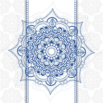 Blue mandala ornamental background