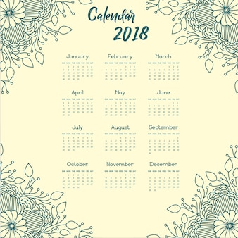 青い曼荼羅スタイルの花年次カレンダー2018
