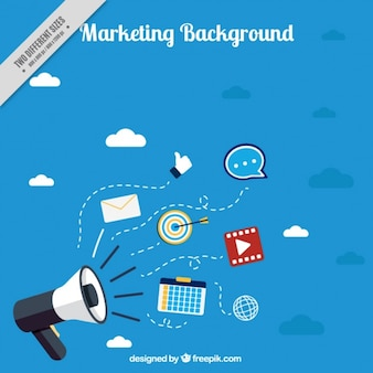 Blue marketing background with megaphone
