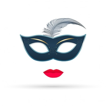 Blue mask with lips