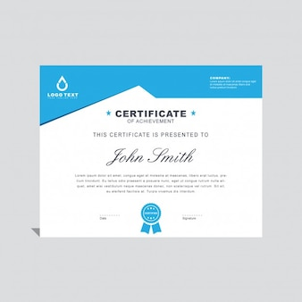 Blue minimal certificate template