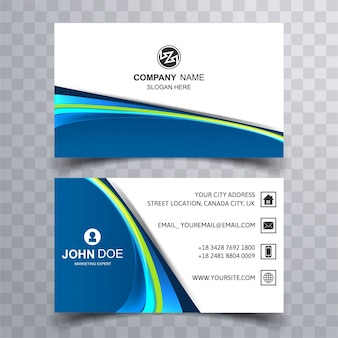 Blue modern wavy business card