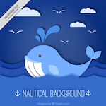 Blue nautical background with whale
