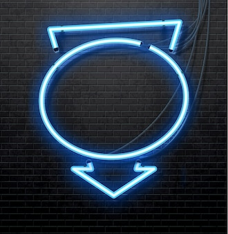 Blue neon arrow isolated on black brick wall