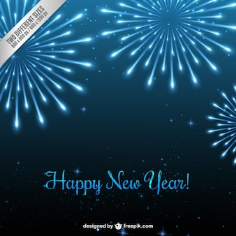 Blue new year fireworks background