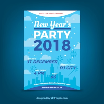 Blue new year party poster