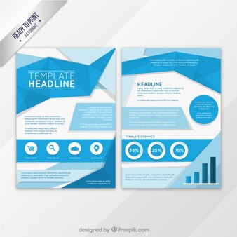 Blue origami flyer template