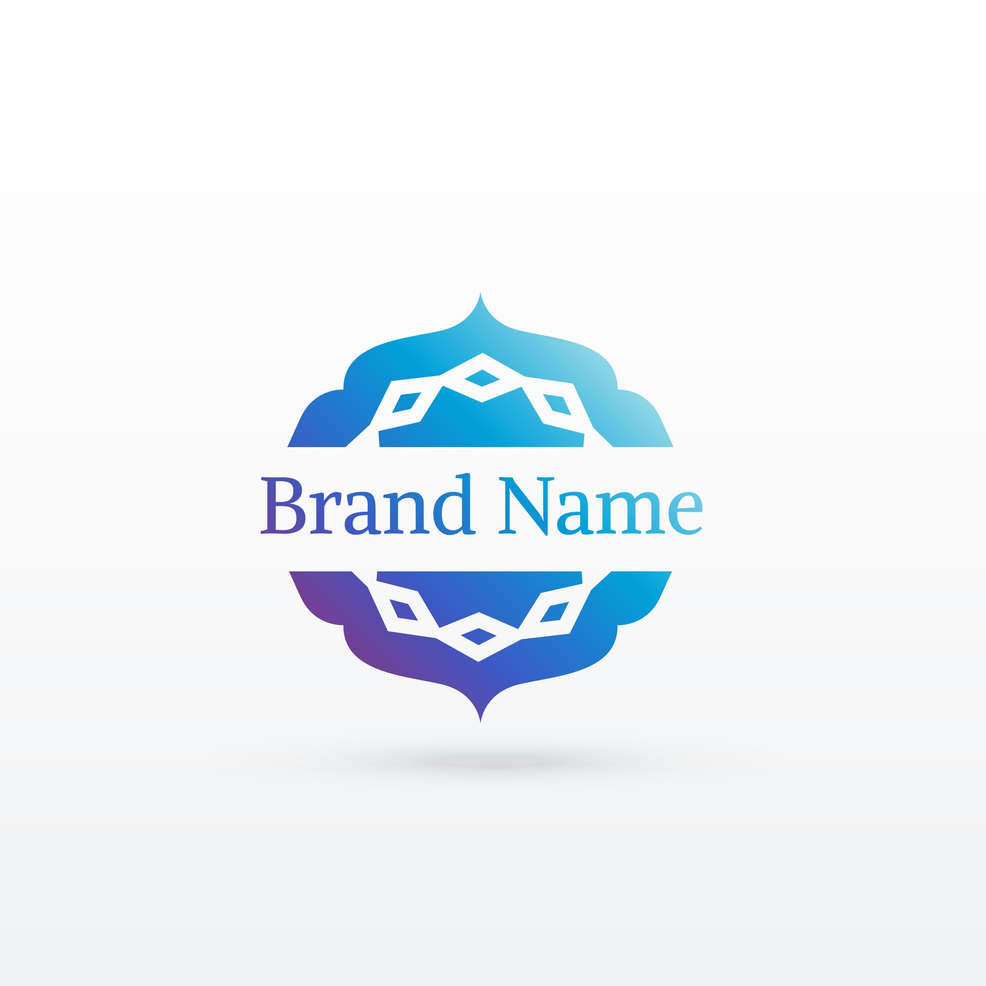 Blue ornamental brand in arabic style