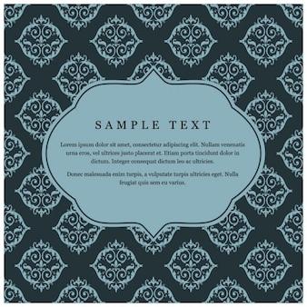 Blue ornamental floral wedding invitation