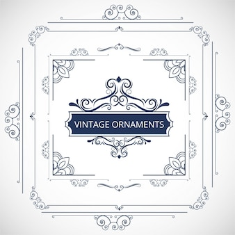 Blue ornamental frame design