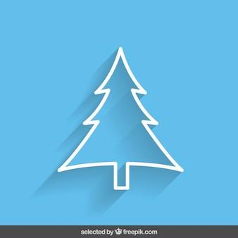Blue outline Christmas tree