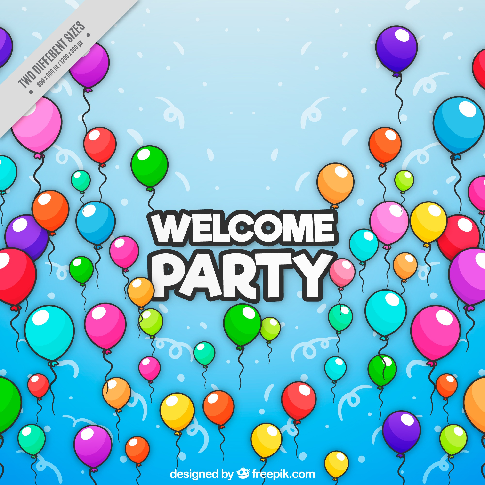 Blue party background with colorful balloons