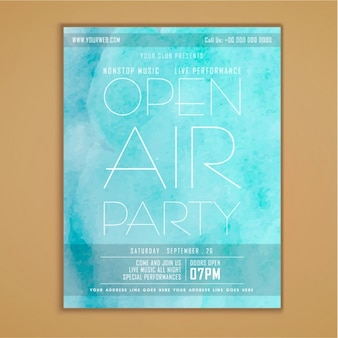 Blue party poster in watercolor style