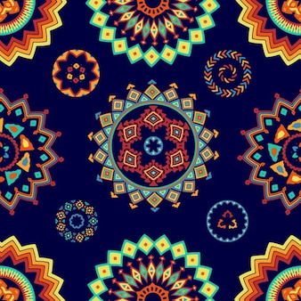 Blue pattern with decorative shapes