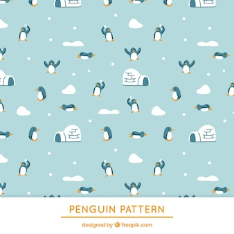 Blue penguins and igloo pattern