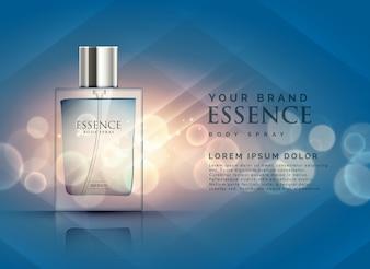 透明ボトルとボケ光の背景と本質香水の広告のコンセプト